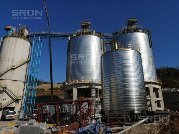 2 sets 3500ton steel spiral silo construction in Korea